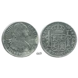 Mexico City, Mexico, bust 8 reales, Charles IV, 1793FM.