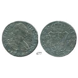 Seville, Spain, bust 8 reales, Charles IV, 1798CN, scarce.