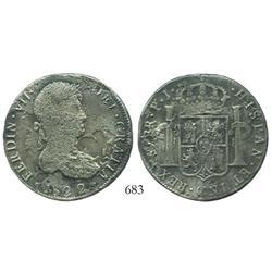 Potosi, Bolivia, bust 8 reales, Ferdinand VII, 1822PJ, scarce provenance.