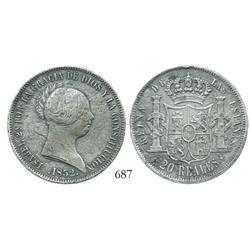 Seville, Spain, bust 20 reales, Isabel II, 1852.