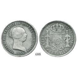 Seville, Spain, bust 20 reales, Isabel II, 1855.