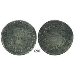 Madrid, Spain, bust 10 reales, Ferdinand VII, 1821SR.