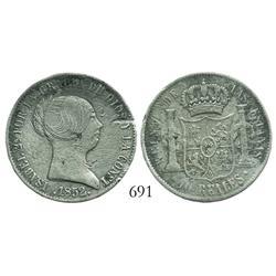 Seville, Spain, bust 10 reales, Isabel II, 1852.