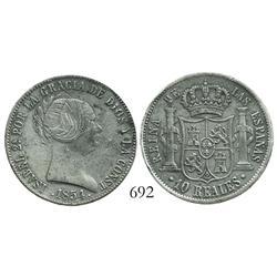 Seville, Spain, bust 10 reales, Isabel II, 1854.