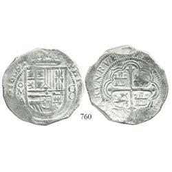 Mexico City, Mexico, cob 8 reales, 1609/8A, rare overdate.