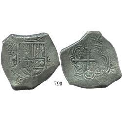 Mexico City, Mexico, cob 8 reales, (16)63P, rare.