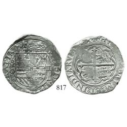 Mexico City, Mexico, cob 4 reales, Philip II, assayer O (oMO to left).