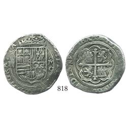 Mexico City, Mexico, cob 4 reales, Philip II, assayer O (oMO to right).