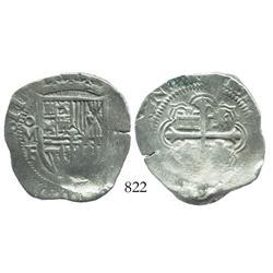 Mexico City, Mexico, cob 4 reales, 1611/0F, rare.