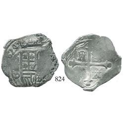 Mexico City, Mexico, cob 4 reales, (1)621/0/9D, rare overdate.