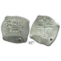 Mexico City, Mexico, cob 4 reales, 1654/3P, rare overdate.