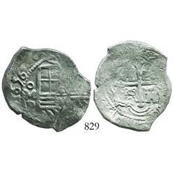 Mexico City, Mexico, cob 4 reales, 1656P, bold date.
