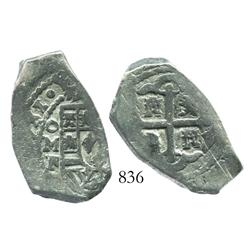 Mexico City, Mexico, cob 4 reales, (1)731/0F, rare overdate in this denomination.
