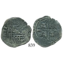 Mexico City, Mexico, cob 2 reales, Philip II or III, assayer F, variety with 8-F to left, 3 small ca