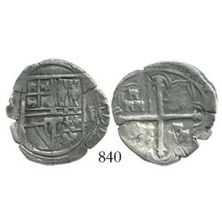 Mexico City, Mexico, cob 2 reales, Philip II or III, assayer F, variety with 3 small castles in each