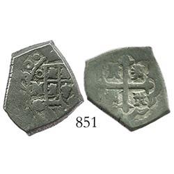 Mexico City, Mexico, cob 2 reales, 1730G/R, rare.