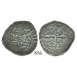 Mexico City, Mexico, cob 1 real, Philip II, assayer O (oM to left, O to right).