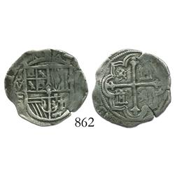 Mexico City, Mexico, cob 1 real, Philip III, assayer F, quadrants of cross transposed, rare.