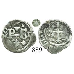 Mexico City, Mexico, cob 1/2 real, Philip III, assayer D, with 6-point-star ornaments.