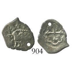 Mexico City, Mexico, cob 1/2 real, (1)724(J), Philip V, very rare.