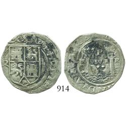 Lima, Peru, 2 reales, Philip II, assayer Rincon, motto as PL-VSVL-R, rare.