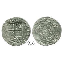 Lima, Peru, 1 real, Philip II, assayer Rincon, motto as PL-VS-VL.