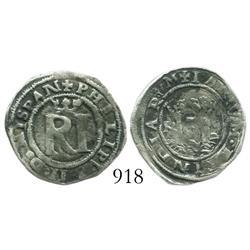 Lima, Peru, 1/2 real, Philip II, assayer Rincon.