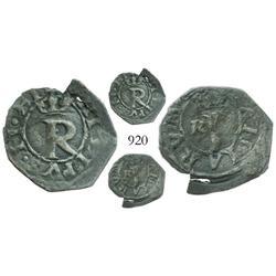 Lima, Peru, 1/4 real, Philip II, assayer Rincon, very rare.