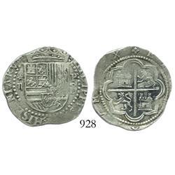 Lima, Peru, cob 2 reales, Philip II, assayer Diego de la Torre, *-ii to left, P-oD/X to right, rare.