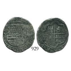 Lima, Peru, cob 2 reales, Philip II, assayer Diego de la Torre, *-ii to left, (P)-oD/X to right, rar