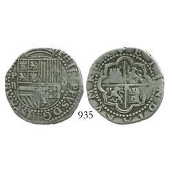 Lima, Peru, cob 2 reales, Philip II, assayer Diego de la Torre, P-ii to left, oD-* to right.