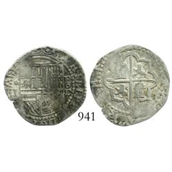 Lima, Peru, cob 1 real, Philip II, assayer Diego de la Torre, *-I to left, P-oD to right.
