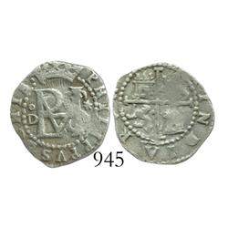 Lima, Peru, cob 1/2 real, Philip II, assayer Diego de la Torre, oD to left, * to right.