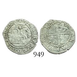 Lima, Peru, cob 1/2 real, Philip II, assayer Diego de la Torre, dot-D to left, P to right, * above m