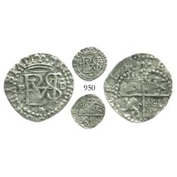 Lima, Peru, cob 1/2 real, Philip II, assayer Diego de la Torre, P to left, dot-D to right, * below m