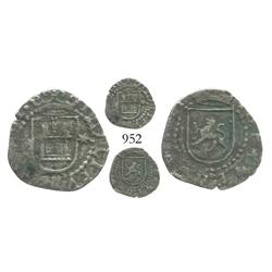 Lima, Peru, cob 1/4 real, Philip II, assayer Diego de la Torre, P to left, * to right of castle.