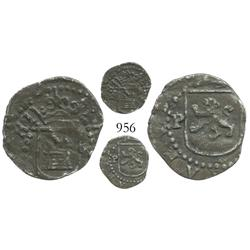 Lima, Peru, cob 1/4 real, Philip II, assayer Diego de la Torre, * to right of castle, P to left of l