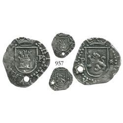 Lima, Peru, cob 1/4 real, Philip II, assayer Diego de la Torre, *-P flanking castle, P-* flanking li