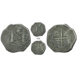 """Lima, Peru, cob 2 reales, """"Star of Lima"""" type, 165(9)V, rare."""