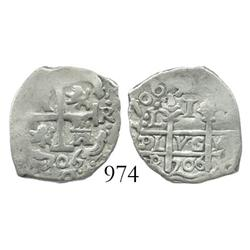 Lima, Peru, cob 1 real, 1706R.