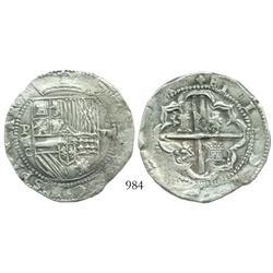 Potosi, Bolivia, cob 8 reales, Philip II, assayer C, very rare.