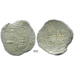 Potosi, Bolivia, cob 8 reales, Philip III (ordinal visible), assayer B (5th period), ex-Paul Karon c