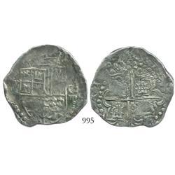 Potosi, Bolivia, cob 8 reales, 1621(T), quadrants of cross transposed, scarce as non-salvage.