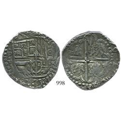 Potosi, Bolivia, cob 8 reales, (16)29T, date at 2 o'clock.