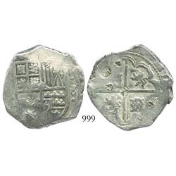 Potosi, Bolivia, cob 8 reales, Philip IV, assayer not visible (ca. 1629).