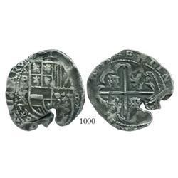 Potosi, Bolivia, cob 8 reales, (1630-1)T, cross-crosslet ornaments.