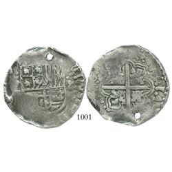 Potosi, Bolivia, cob 8 reales, Philip IV, assayer not visible (ca. 1645).