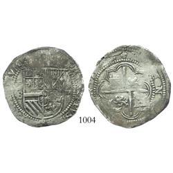 Potosi, Bolivia, cob 4 reales, Philip II, assayer B (1st period,  Lima style ).