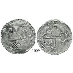 Potosi, Bolivia, cob 4 reales, Philip II, assayer B (2nd period, HISPANIARVM).
