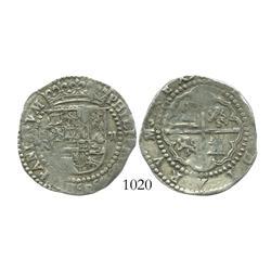 Potosi, Bolivia, cob 2 reales, Philip II, assayer R (Rincon, P-R to left).